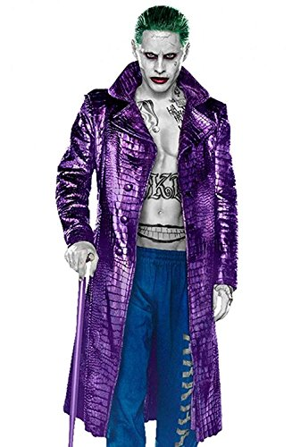 Mountain Leather Suicide Squad Joker Jared Leto Costume Crocodile Pattern Trench Coat (LAR-Jacket -