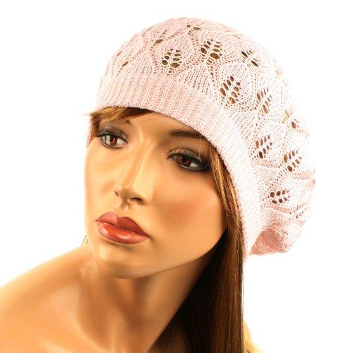 Pastel Pointelle Vented Soft Knit Lurex Shimmer Beret Beanie Hat Cap