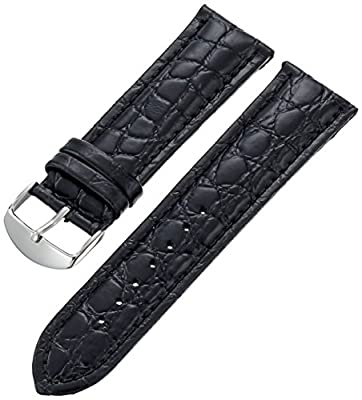 Hadley-Roma Men's MSM907RA-200 20-mm Black Genuine Leather Watch Strap by Hadley-Roma