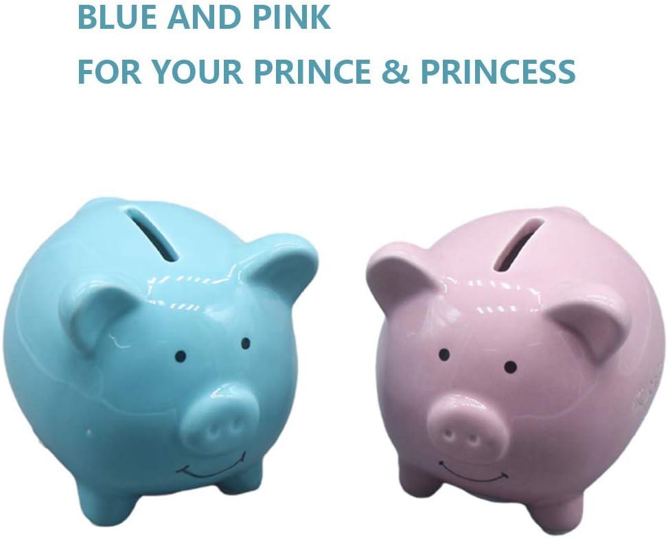 Pink Kids Money Bank Cute Pig Coin Bank for Kids Ceramic Pig Piggy Bank for Boys Kids XINHAX Piggy Bank Girls Adult Coin Bank with DIY Sticker