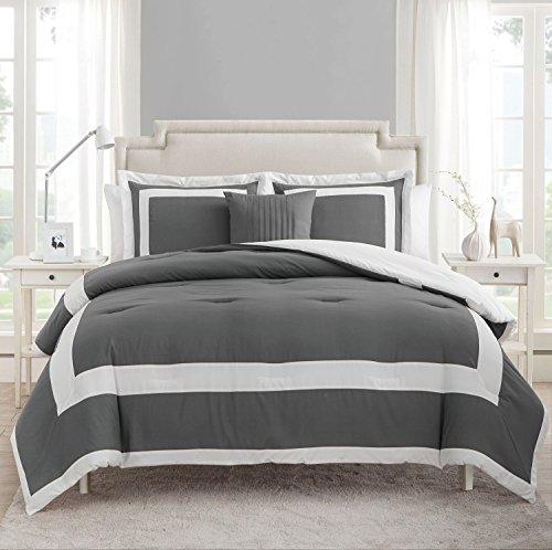 (VCNY Home Avondale 4pc Comforter Set, Queen, Grey/White)