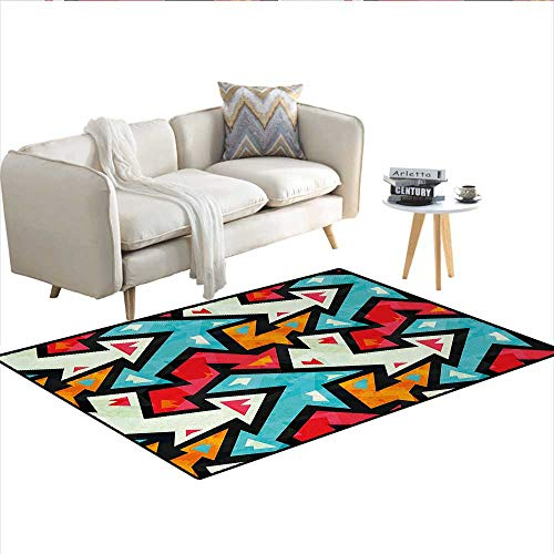 Carpet,Graphic Arrow Pattern with Grunge Effect Funky Psychedelic Colorful Zigzag Artwork,Customize Rug Pad,MulticolorSize:36