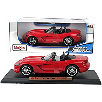 Maisto Special Edition Series 1:18 Scale Die Cast Car Set - Red Color Sports Coupe DODGE VIPER SRT-10 with Display Base (Car Dimension: 9