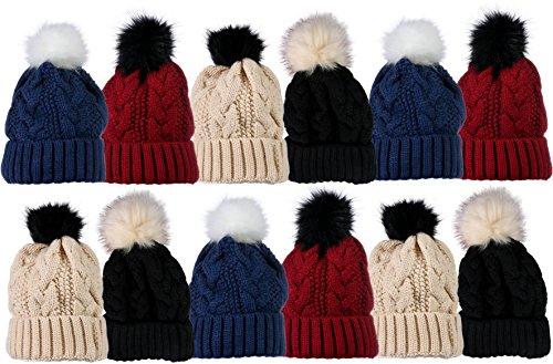 (Yacht & Smith Womens Pom Pom Winter Beanies, Wholesale Bulk Winter Hats (Pom Beanies)