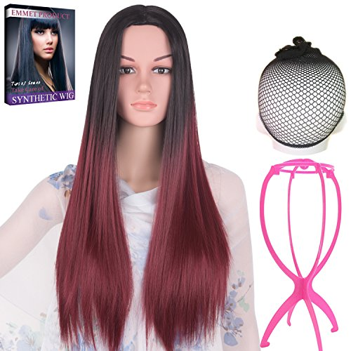 Emmet Long Hair Wigs Ombre Color Straight Synthetic Kanekalon Full Wig for Women Cosplay Party Costume Wig with Free Wig Cap & Free Wig Stand Holder & Free Ebook (Black (Easy To Prepare Halloween Costume)