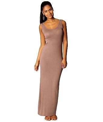 739d5985fc4 Robe Longue sans Manche Moulante été Femme Robe Tunique Habillée Maxi d été  Simple Robe Droite