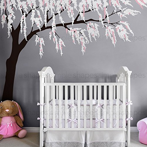 Weeping Willow Tree Decal with Cherry Blossoms - scheme B - by Simple Shapes by Simple Shapes