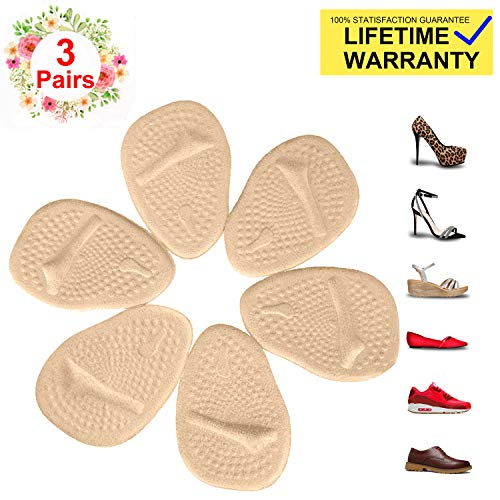 Metatarsal Pads for Womens Heel Cushion Inserts - All Day Pain Relief and Ball of Foot Cushions, 3 Pairs Shoe Inserts Womens Also Suitable for Mens (Best Shoe Cushion Inserts)