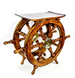 Wooden Ship Wheel Home Decor Table | Pirate's Antique Brass Hub Motiff | Nagina International (24 Inches)