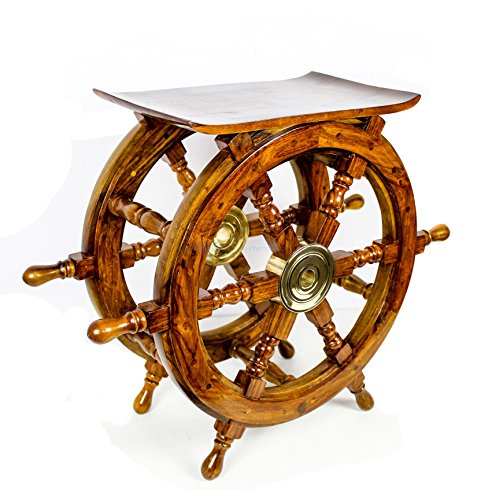 Wooden Ship Wheel Home Decor Table | Pirate's Antique Brass Hub Motiff | Nagina International (24 Inches) by Nagina International