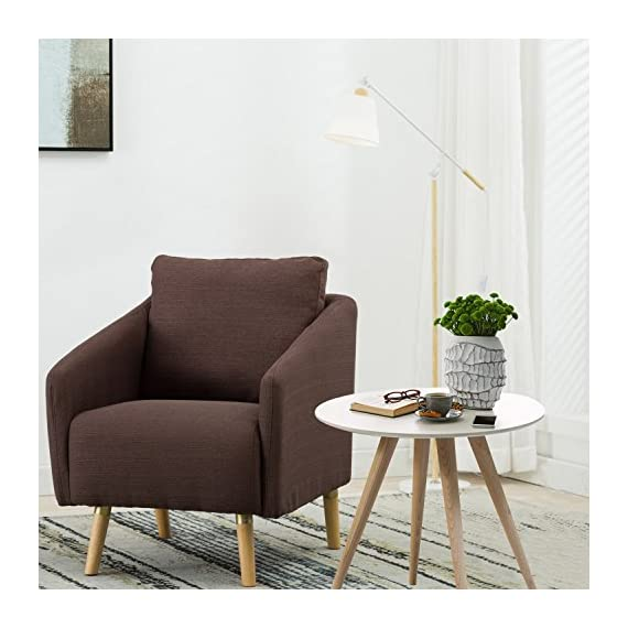 BONZY Accent Chair Mid-Century Style for Living Room Durable Frame - Light Brown -  - living-room-furniture, living-room, accent-chairs - 51stsNAeHFL. SS570  -