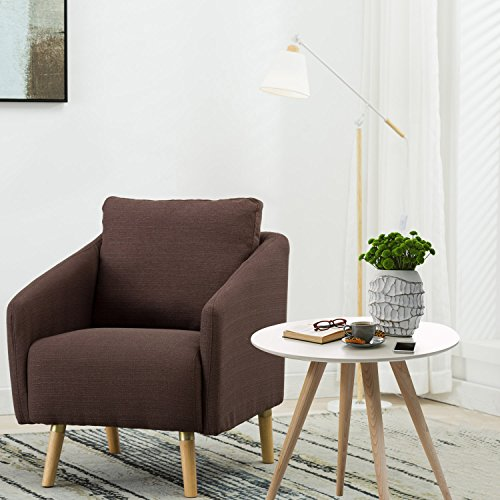 BONZY Accent Chair Mid-Century Style for Living Room Durable Frame – Light Brown