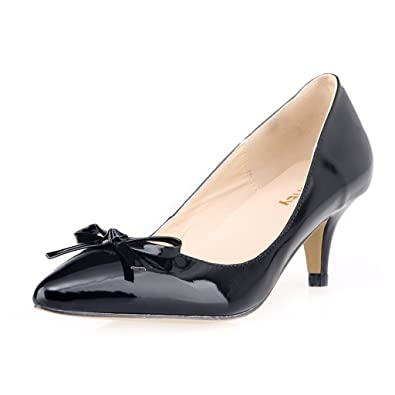 5c981ca3874f ZriEy(TM Women s Middle Heel Shoes Bow Simple Pumps Elegant Sexy Fashion  Pointed Toe Shoes