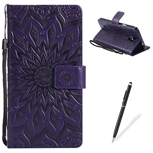 MAGQI Samsung Galaxy Note 4 Case Anti-Scratch Slim Fit Cover, Embossed Mandala Sunflower Serise Luxury Soft PU Leather Stand Vintage Retro Wristlet Flip Wallet Card Slots Skin Shell - Purple