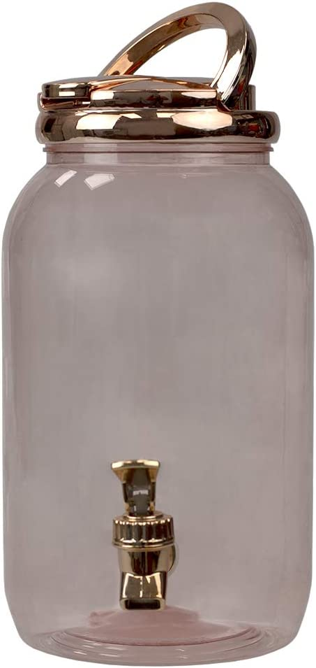 Home Basics, Rose Gold 3.78 Lt Plastic Beverage Dispenser, 10.5