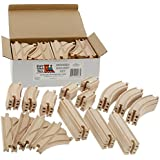 Wooden Train Track Set 52 Piece Pack - 100% Compatible with All Major Brands including Thomas