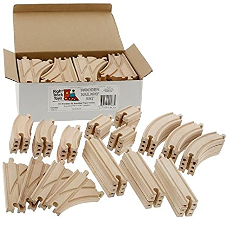 Amazon Com Wooden Train Track Set 52 Piece Pack 100 Compatible