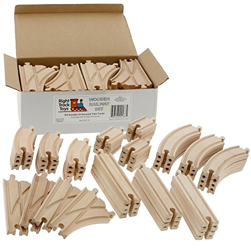 Wooden Train Track 52 Piece Set - 18 Feet Of Track Expansion And 5 Distinct Pieces - 100% Compatible with All Major Brands Including Thomas Wooden Railway System - by Right Track Toys ()
