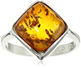 Sterling Silver Honey Amber Square Ring, Size 8