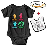 Leopoldson Funny Rock Paper Nothing Beats Wrestling Baby Short Sleeve Bodysuits Onesies with Baby Bib