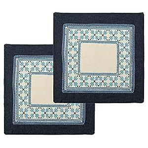 Turathna Cotton Handmade Cross Stitch Table Center Piece - Blue