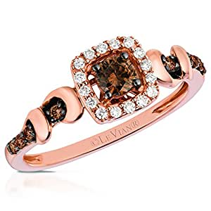 levian 14k rose gold cushion halo chocolate