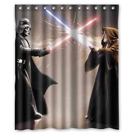 Lovelife Star Wars Fight Between Darth Vader And Jedi Custom Shower Curtain 66 Amazoncouk Kitchen Home