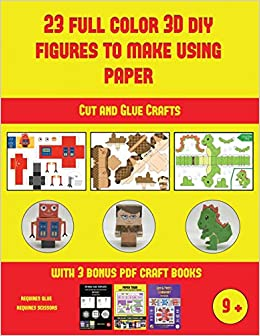 Amazon Fr Cut And Glue Crafts 23 Full Color 3d Figures To