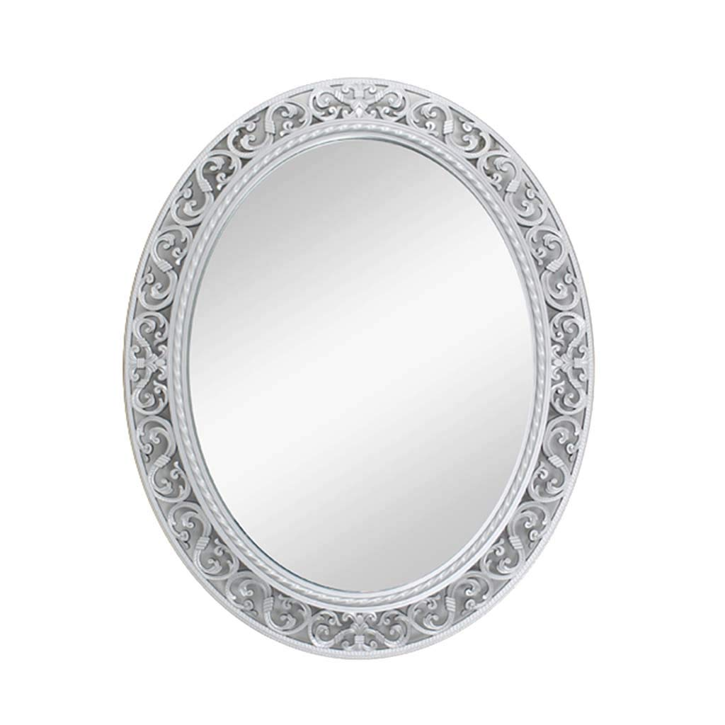 Silver Greawei@ Bathroom Vanity Mirror, European Modern Hollow Craft Mirror - Oval Glass Decorative Mirror -55  66cm Simple and Elegant (color   Silver)