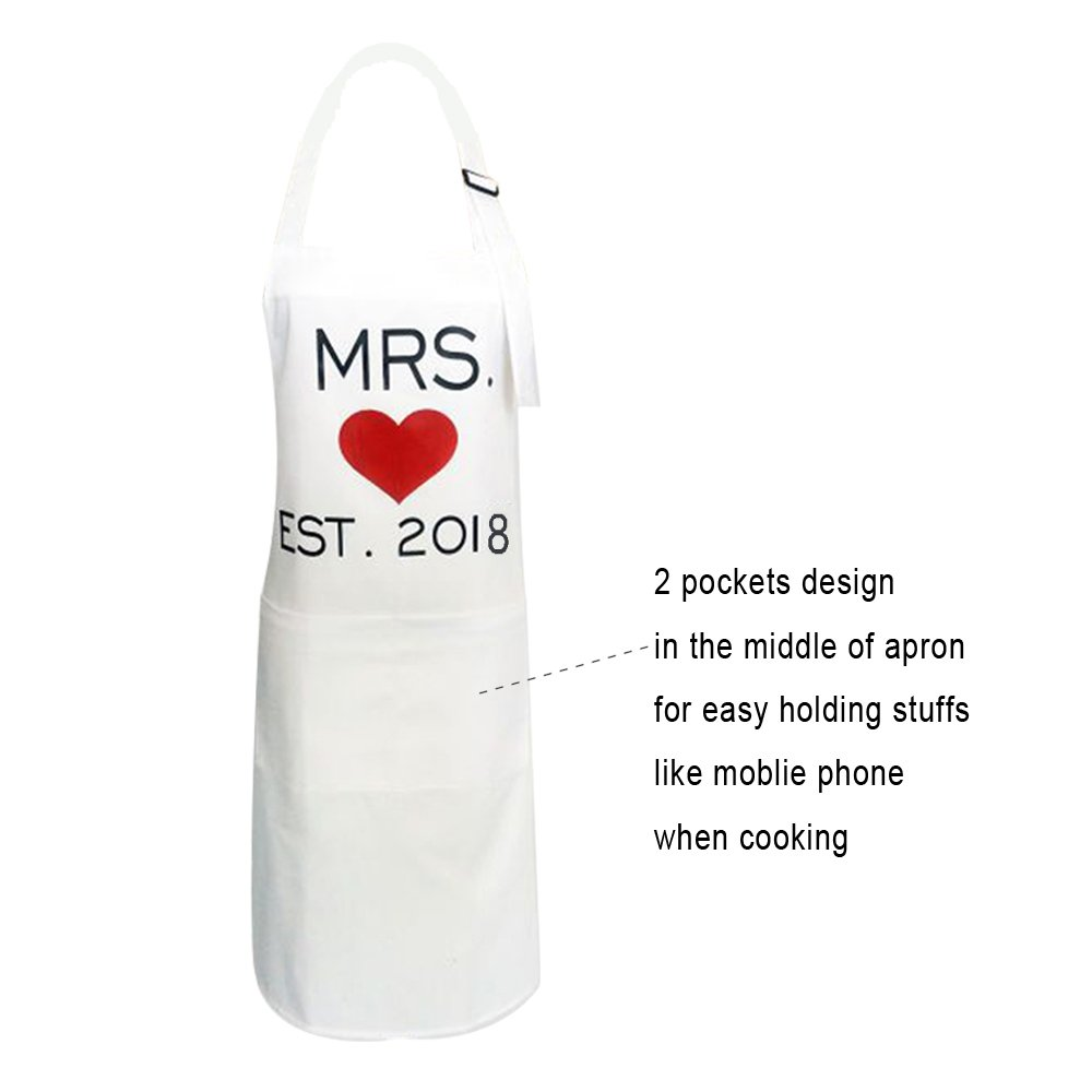 KMCH Mr. and Mrs.2018 Couples Kitchen Aprons Funny Cooking Bibs Gifts For Wedding Newlyweds His and Hers Sets (2 Pieces a Set) by KMCH (Image #4)