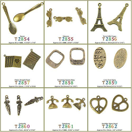 390 Telephone - 390 PCS Jewelry Making Charms Findings T2861 Telephone Jewellery Bronze Charme Supply Supplies Crafting Bracelet Wholesale Craft Alloys Lots Bulk Necklace Antique Retro DIY