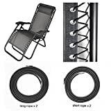 HZFS Universal Replacement Cords for Zero Gravity Chair(4 cords), Replacement laces for Zero Gravity Chairs, Zero Gravity Recliner Repair Tool for Lounge Chair, Bungee Chair Cord(Black)