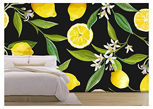 Vector Seamless Pattern Lemon Fruits Background Floral Pattern Flowers Leaves Lemons