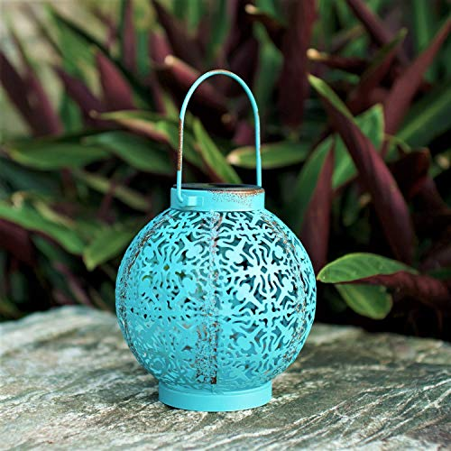 Outdoor Solar Hanging Lantern Lights Metal Led Decorative Lamp for Garden Patio Courtyard Lawn and Table with Hollowed-Out Design. (Blue)