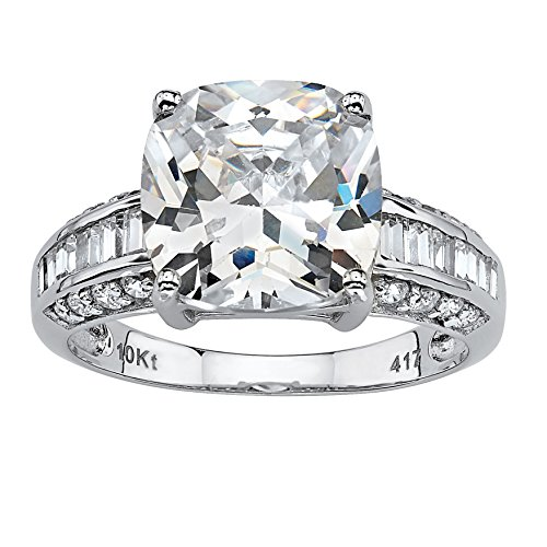 Cushion-Cut White Cubic Zirconia 10k White Gold Baguette Row Engagement Ring ()