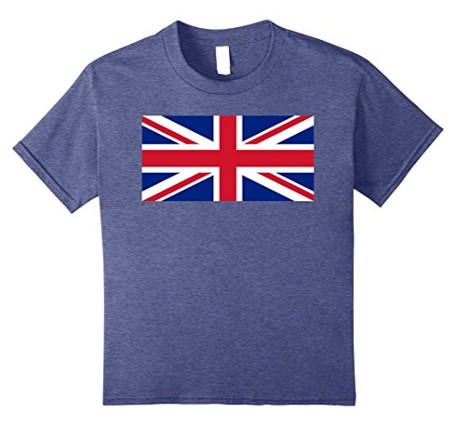 British Flag Colors (Kids Union Jack United Kingdom Great Britain T Shirt 10 Heather Blue)