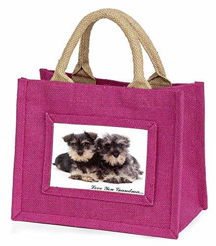 Advanta–Mini Pink Jute Tasche Miniatur Schnauzer Oma Little Mädchen klein Einkaufstasche Weihnachten Geschenk, Jute, pink, 25,5x 21x 2cm