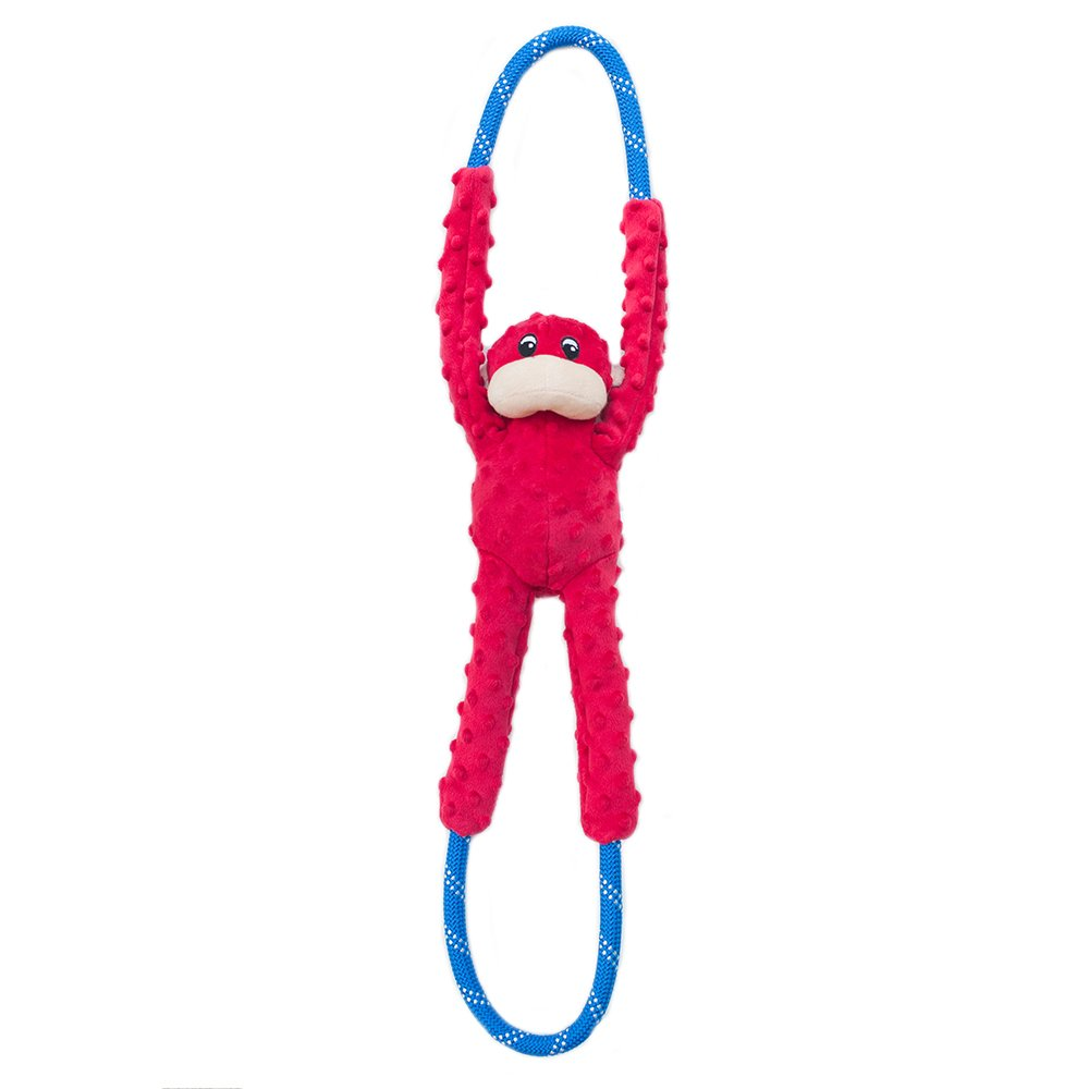 ZippyPaws Monkey RopeTugz - Plush and Rope Dog Toy (Red)