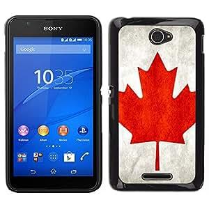 Caucho caso de Shell duro de la cubierta de accesorios de protección BY RAYDREAMMM - Sony Xperia E4 - Bandera de Canadá