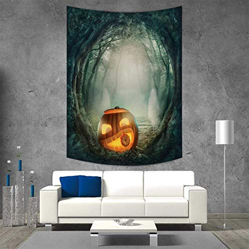smallbeefly Halloween Customed Widened Tapestry Drawing Scary Halloween Pumpkin Enchanted Forest Mystic Twilight Party Art Wall Hanging Tapestry 54W x 84L INCH Orange Teal -