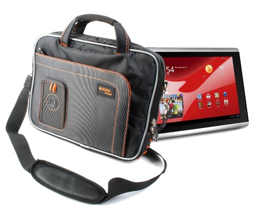 DURAGADGET Tough Black Shoulder Strap Bag with Multiple Compartments for Packard Bell Liberty Tab (Packard Bell 10 Inch Touch Screen Tablet)