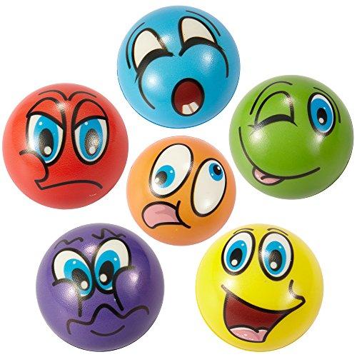 "Set of 24 Emoji Face Foam Soft Stress Novelty Toy Balls (2.5"") - Assorted Colors"