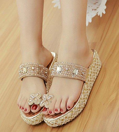 sandalias de las mujeres del diamante conjuntos de playa casuales foot mujeres pesado-zapatillas Gold