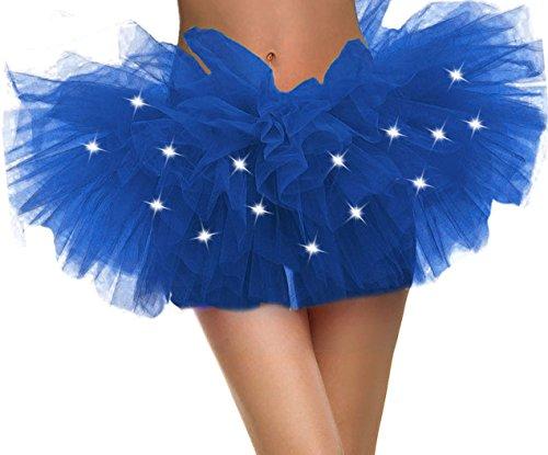 9dfa4ed5f3 Womens Light up Tulle Tutu Skirt Royal Blue Womens Tutu Skirt ()