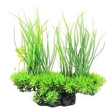 Uxcell Jardin Plastic Emulation Decorative Long Leaf Plant for Aquarium, 20cm, Green