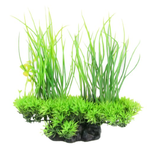 Jardin Plastic Emulational Decorative Long Leaf Plant for Aquarium, 20cm, Green (Plant Ornament Plastic Tank Fish)