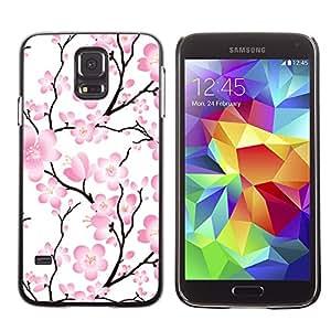 Paccase / SLIM PC / Aliminium Casa Carcasa Funda Case Cover para - Wallpaper Pink Flowers Floral Tree Branch - Samsung Galaxy S5 SM-G900