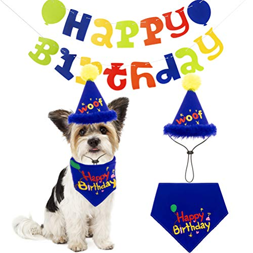 PAWCHIE Dog Birthday Decorations Kit - Birthday Bandana and WOOF Hat - 15pcs Colorful Banners for Puppy Party Accessory