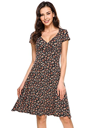 ThinIce Women Causal Summer Beach Dress Rayon Floral Print Wrap V-neck Sundress (Print V-neck Sundress)