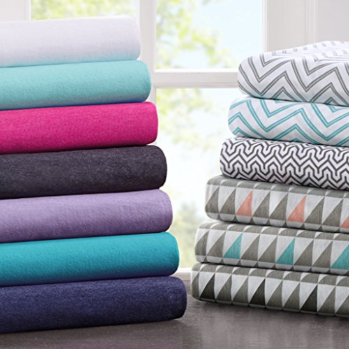 Cotton Blend Jersey Knit Sheet Set Grey Multi Queen